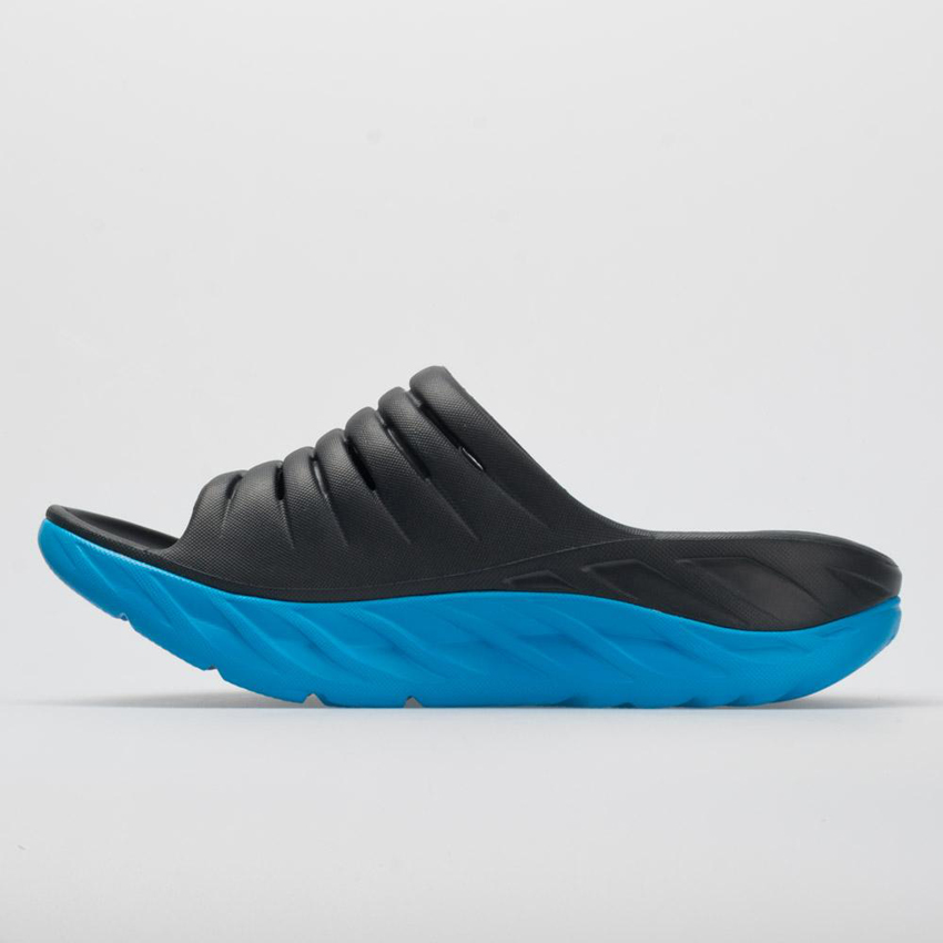 Hoka One One Ora Recovery Slide Women's Ebony/Dresden Blue UK Discount Spot Sales