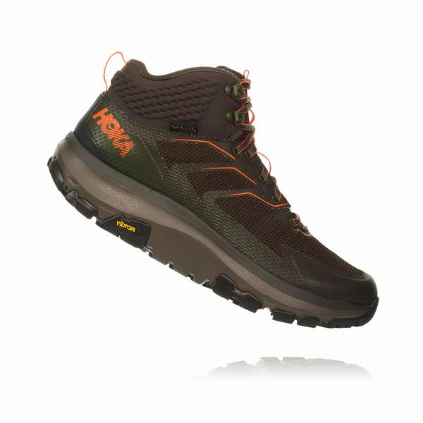Hoka One One Sky Toa Hiking Boots Mens Black Olive / Orange UK Discount Spot Sales